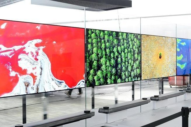 A Row Of LGu0027s Stunning New LG Signature OLED W TVs.