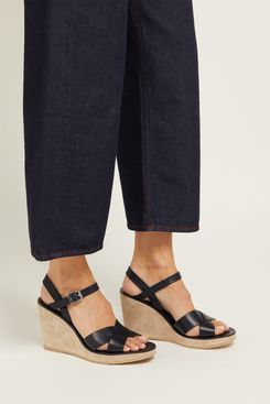 A.P.C. Juliette Leather Wedge Sandals