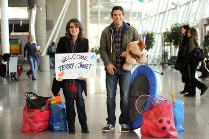 "30 ROCK -- ""A Goon's Deed in a Weary World"" Episode 711 -- Pictured: (l-r) Tina Fey as Liz Lemon, James Marsden as Criss"