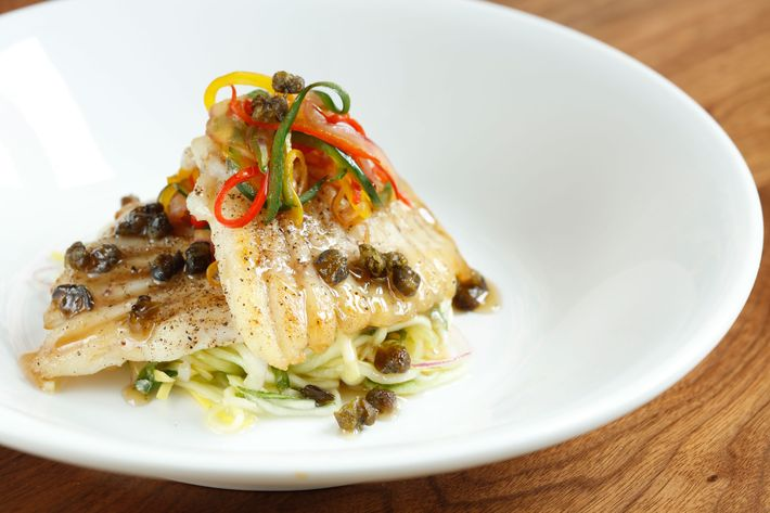 Pan-seared skate with squash agrodolce, roasted peppers, caper brown butter, and mint.