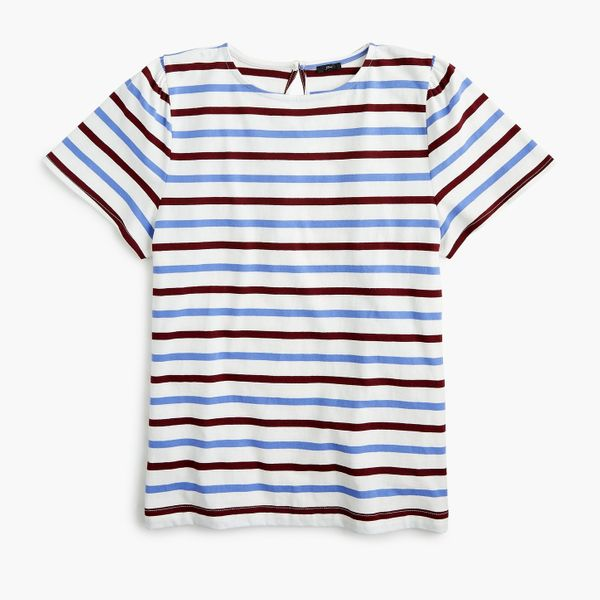 Puff-Sleeved T-shirt in Stripe