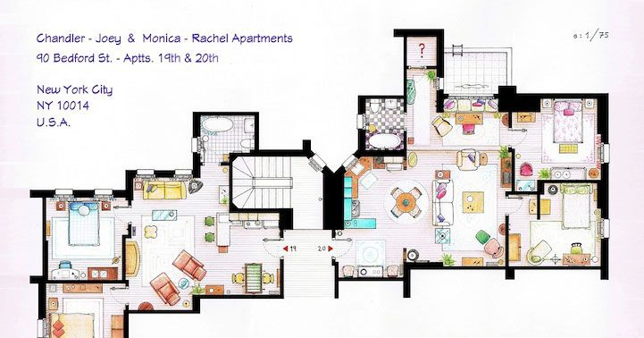 See A Floor Plan For The Friends Apartments    Vulture