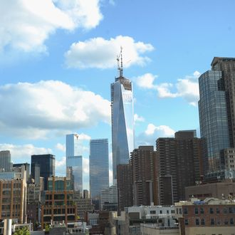 NEW YORK, NY - MAY 13: General view of One World Trade Center aka 1 WTC surrounded by buildings on May 13, 2013 in New York City. (Photo by Michael Loccisano/Getty Images)