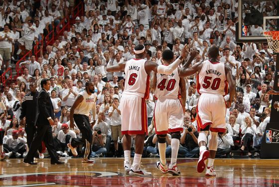 MIAMI, FL - MAY 28: The Miami Heat players celebrate in Game One of the Eastern Conference Finals between the Boston Celtics and the Miami Heat during the 2012 NBA Playoffs on May 28, 2012 at American Airlines Arena in Miami, Florida.  NOTE TO USER: User expressly acknowledges and agrees that, by downloading and or using this photograph, User is consenting to the terms and conditions of the Getty Images License Agreement. Mandatory Copyright Notice: Copyright 2012 NBAE  (Photo by Nathaniel S. Butler/NBAE via Getty Images)