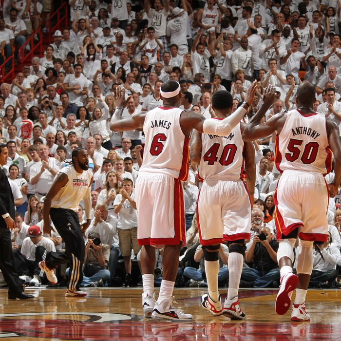 The Miami Heat players celebrate in Game One of the Eastern Conference Finals between the Boston Celtics and the Miami Heat during the 2012 NBA Playoffs on May 28, 2012 at American Airlines Arena in Miami, Florida.