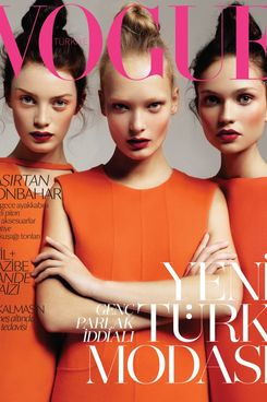 Milly Simmonds, Egle Jezepcikaite and Yana Sotnikova on <em>Vogue</em> Turkey.
