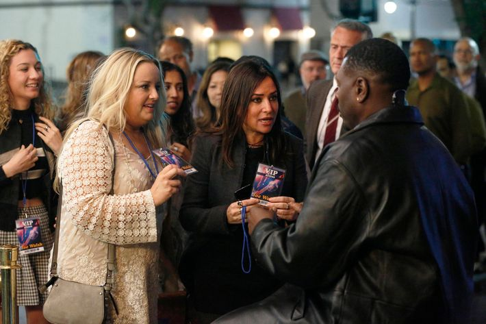 "BETTER THINGS ""Hair of the Dog"" Episode 9 (Airs Thursday, November 3, 10:00 pm/ep) -- Pictured: (l-r) Lucy Davis as Macy, Pamela Adlon as Sam Fox, David Terrell as Door Man. CR: Jennifer Clasen/FX"