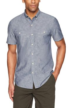 Amazon Brand Goodthreads Men's Slim-Fit Short-Sleeve Chambray Shirt in Navy