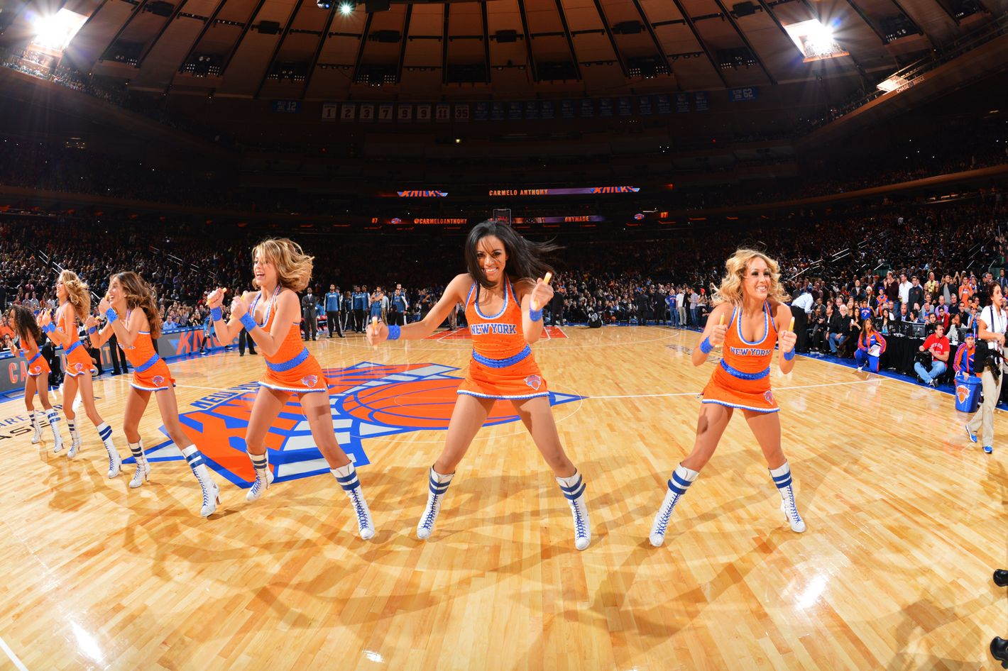 NEW YORK, NY - NOVEMBER 03: The New York Knicks city dancers perform against the Minnesota Timberwolves on November 3, 2013 at Madison Square Garden in New York City, New York. NOTE TO USER: User expressly acknowledges and agrees that, by downloading and or using this photograph, User is consenting to the terms and conditions of the Getty Images License Agreement. Mandatory Copyright Notice: Copyright 2013 NBAE (Photo by Jesse D. Garrabrant/NBAE via Getty Images)