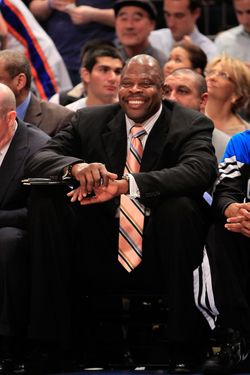 Patrick Ewing the former Knicks player and now coach for the Orlando Magic sits on the bench against the New York Knicks  at Madison Square Garden on March 28, 2012 in New York City.