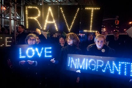 Supporters of the New Sanctuary Coalition rally outside a Homeland Security detention center in New York on January 11 to protest the arrest and probable deportation of immigration activist and sanctuary leader Ravi Ragbir. (Photo by Andrew Lichtenstein/ Corbis via Getty Images)