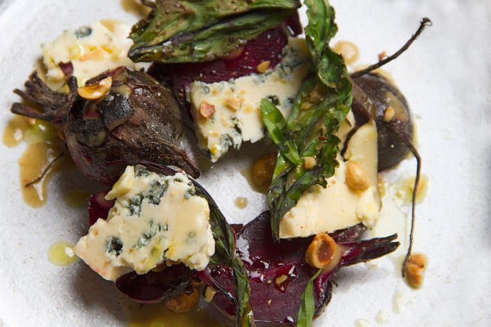 Wood-roasted-beet salad with Rogue Creamery's Smokey Blue cheese.