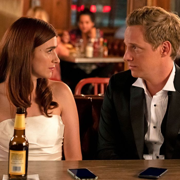 Aya Cash and Chris Geere in You're the Worst.