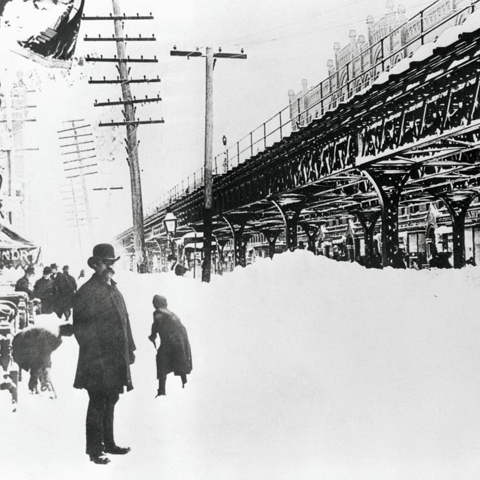 1888, Manhattan, New York City, New York State, USA --- Pedestrians on Site of the Great Blizzard.