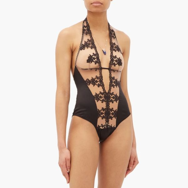 Fleur of England Onyx Embroidered Silk-Blend Bodysuit