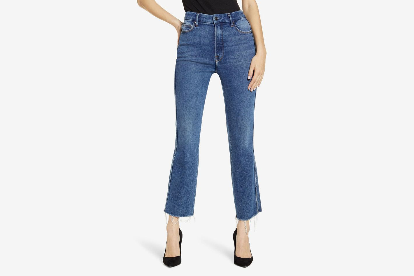 Good American Good Curve High Waist Ankle Straight Leg Jeans