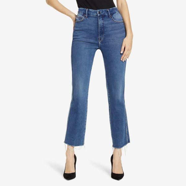 good american high wait ankle length straight leg jeans - strategist nordstrom anniversary sale