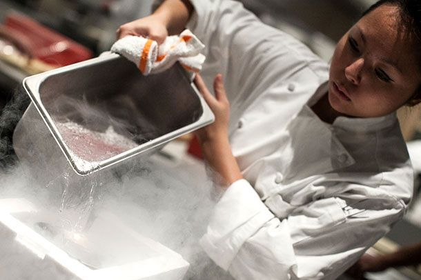 Liquid nitrogen in the kitchen at Chicago's Grace.