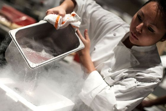 Liquid nitrogen in the kitchen at Chicago's Grace.