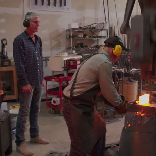 watch anthony bourdain make 200 an inch knives with a certified blade master grub street. Black Bedroom Furniture Sets. Home Design Ideas