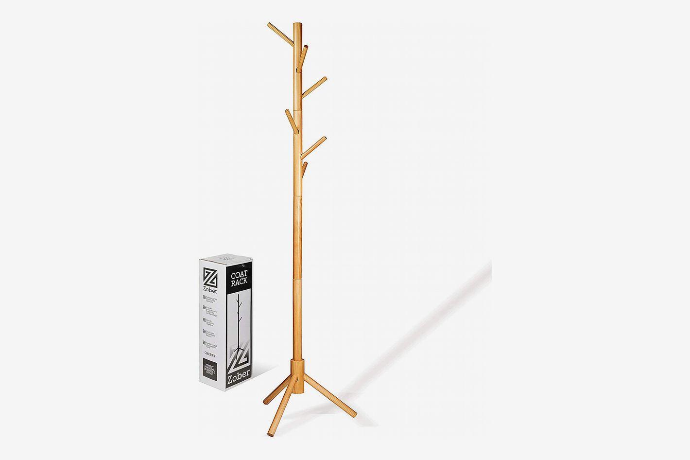 ZOBER Wooden Coat Rack Stand
