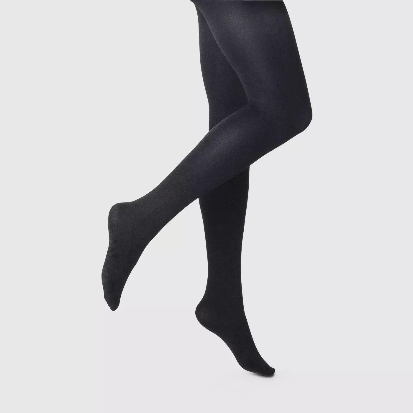 Size Medium Control top clingy sheer legs Pantyhose Off Black nylon tights