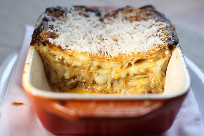 Bowery Meat Co.'s duck lasagna with caciocavallo and Parmesan.