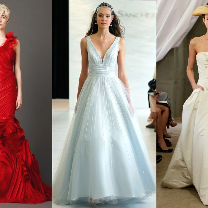 From left: new looks by Vera Wang, Angel Sanchez, and Carolina Herrera.