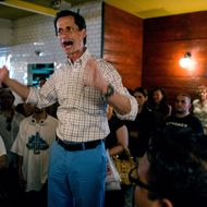 New York mayoral candidate Anthony Weiner stands above supporters as he speaks to them at a gathering to distribute petitions for his campaign Sunday, June 2, 2013, in New York. Earlier in the day, Weiner marched in the Israel Day Parade.