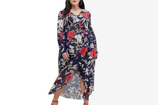 Boohoo Plus long sleeve wrap dress in floral
