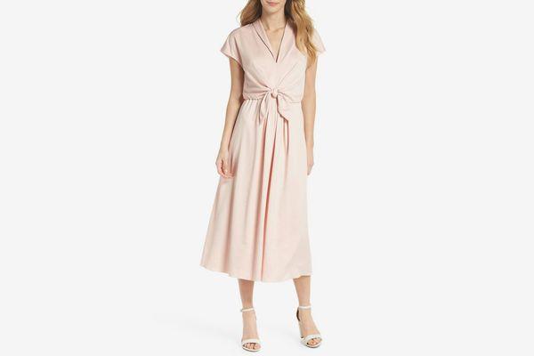Gal Meets Glam Collection Tie Waist Satin Midi Dress