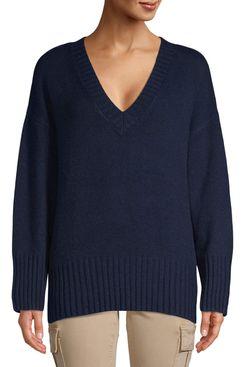 Scoop women's slouchy v-neck sweater, midnight navy