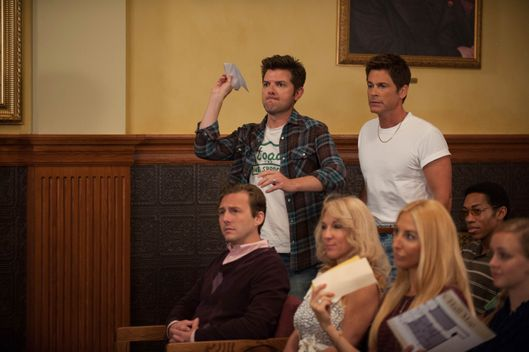 "PARKS AND RECREATION -- ""Filibuster"" Episode 605 -- Pictured: (l-r) Adam Scott as Ben Wyatt, Rob Lowe as Chris Traeger."
