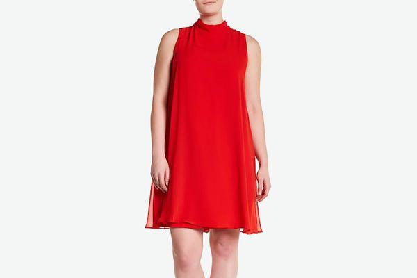 Mock Neck Red Dress