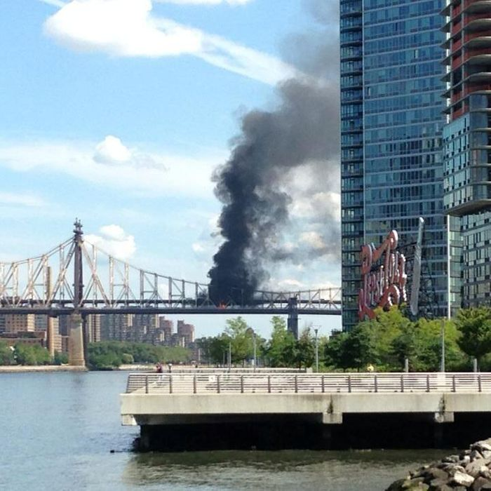 A Truck Erupted In Flames This Morning On The Lower Level Of Ed Koch Queensboro Bridge Resulting Enormous Plumes Black Smoke Set Starkly Against