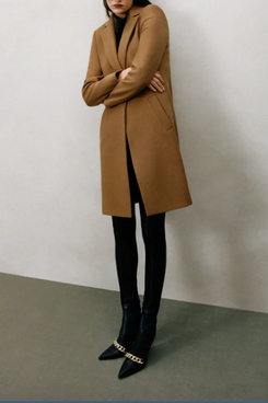 Zara Wool Blend Coat, Taupe Brown