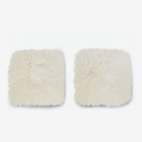 Article Lanna Ivory Sheepskin Seat Pad Set
