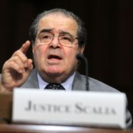 "Supreme Court Justices Antonin Scalia testifies during a hearing before the Senate Judiciary Committee October 5, 2011 on Capitol Hill in Washington, DC. The justice testified on ""Considering the Role of Judges Under the Constitution of the United States."