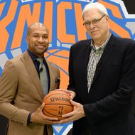 (L-R) Derek Fisher and Phil Jackson pose for a photo during the announcement of Derek Fisher as head coach of the New York Knicks at a press conference on June 10, 2014 in Greenburgh, New York.
