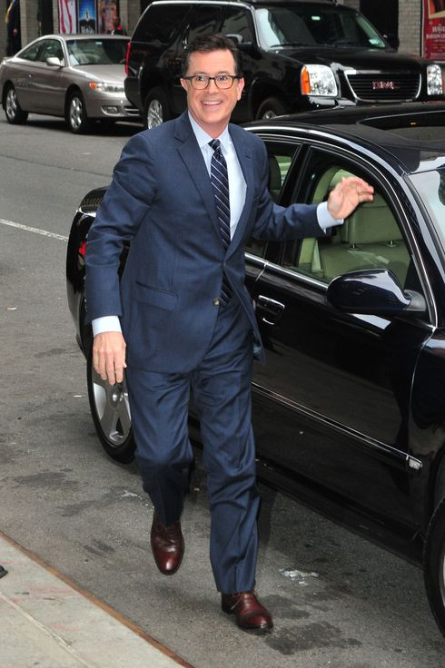 Stephen Colbert is seen on April 22, 2014 in New York City.