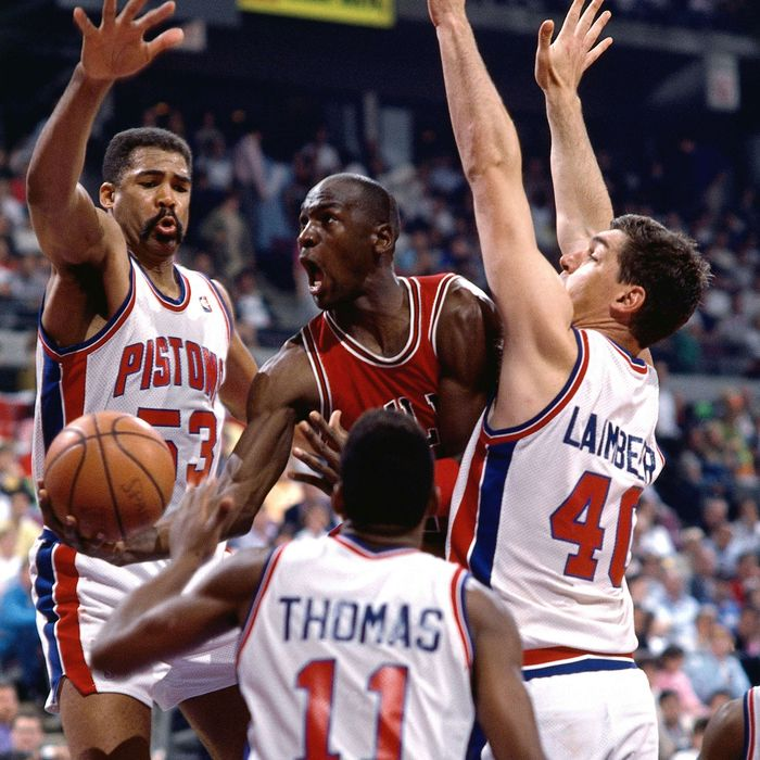 Michael Jordan against the Detroit Pistons in 1989.