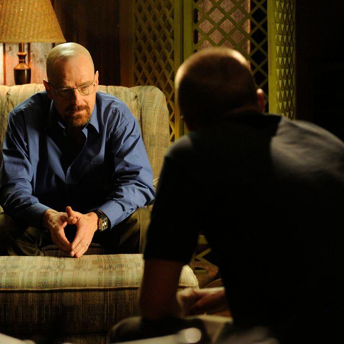 Walter White (Bryan Cranston) and Jesse Pinkman (Aaron Paul) - Breaking Bad - Season 5, Episode 6 - Photo Credit: Ursula Coyote/AMC