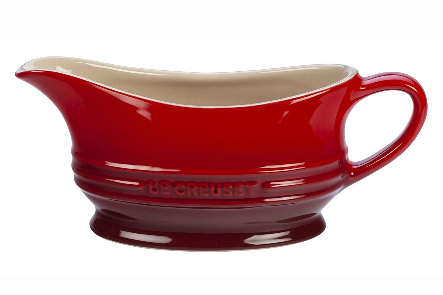 Le Creuset Stoneware 12-Ounce Gravy Boat, Cerise (Cherry Red)