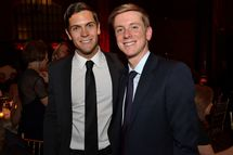 Sean Eldridge, president of Hudson River Ventures, left, and Chris Hughes, editor-in-chief and publisher of The New Republic and a founder of Facebook Inc., stand for a photograph during the Paris Review Spring Revel gala in New York, U.S., on Tuesday, April 3, 2012. The Paris Review Spring Revel is an annual gala held in celebration of great American writers and writing. This year's benefit celebrated the literary magazine's 200th issue.