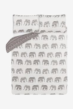 Grey & White Decorative Elephants Easy Care Duvet Set