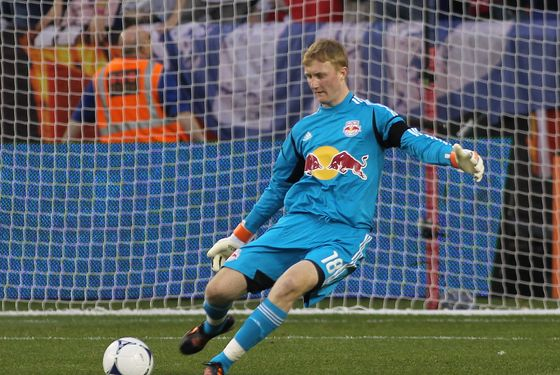 HARRISON, NJ - APRIL 14: Ryan Meara #18 of the New York Red Bulls plays the ball against the San Jose Earthquakes during the game at Red Bull Arena on April 14, 2012 in Harrison, New Jersey. (Photo by Andy Marlin/Getty Images)
