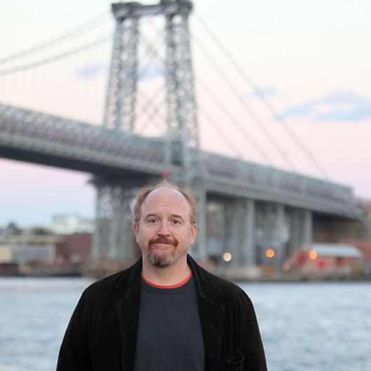 "NEW YORK, NY - OCTOBER 29:  Louis C.K. films ""Louie"" by the Williamsburg Bridge on October 29, 2013 in New York City.  (Photo by Steve Sands/Getty Images)"