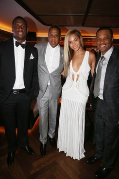 Geno Smith, Jay-Z, Beyonce and Robinson Cano attend The 40/40 Club 10 Year Anniversary Party at 40 / 40 Club on June 17, 2013 in New York City.