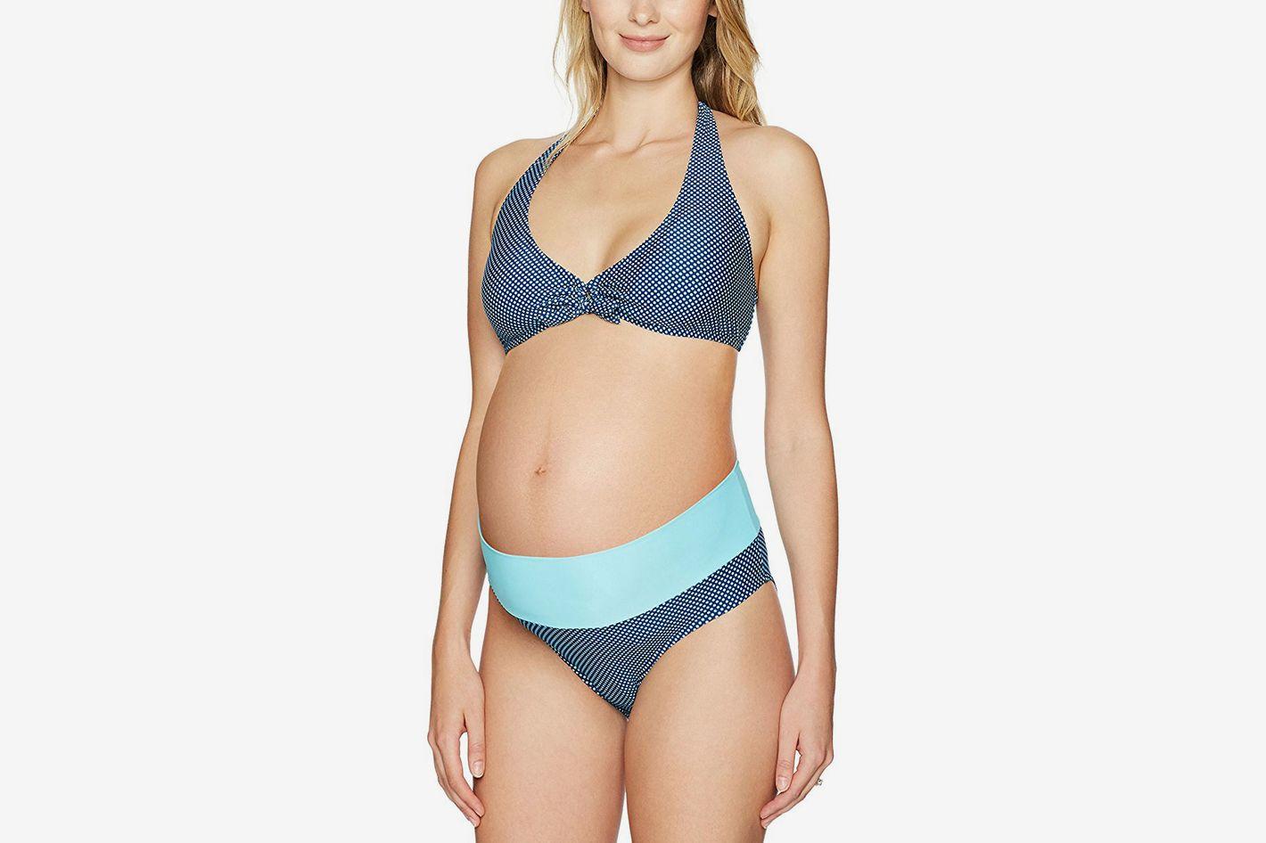 39c56079a2 PregO Maternity Women's maternity Roll Waist Dot Bikini Set