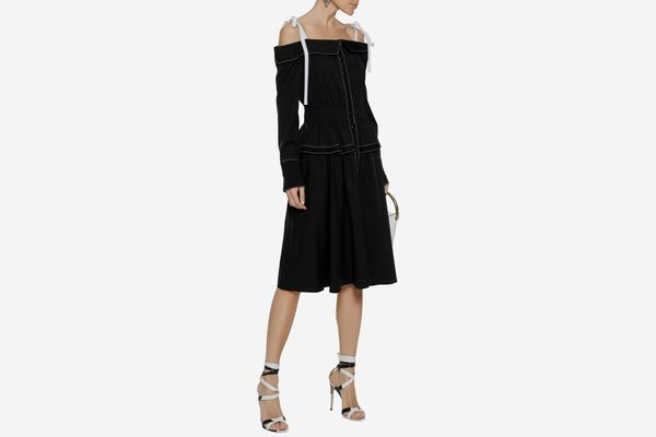 Carolina Herrera Cold-shoulder Poplin Dress